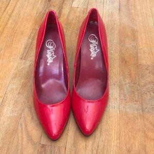 Pleaser Patent red heels